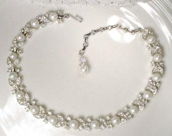 Art Deco Pearl Bridal Necklace, Vintage Wedding Pave Rhinestone Ivory Pearl Necklace, Silver Leaf Link Statement Necklace Designer 1950 Set