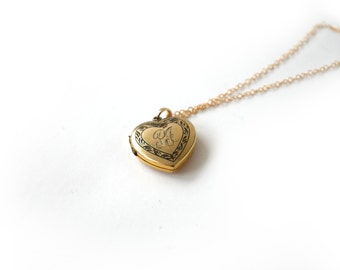Vintage Heart Locket With Monogram PJ