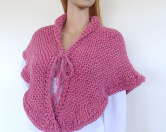 Chunky Knit shawl, Pink Shawl ,  Pink hand knitted wrap, Knit Cape , Chunky knit shawl wrap in raspberry