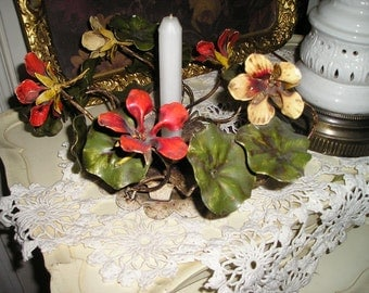 Vintage Italian Shabby chic Spring Candle Holder w/ Nasturtium Flowers /Foliage galore Table centerpiece Shabby Nice..