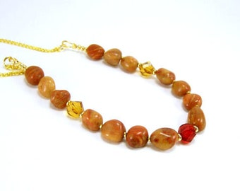 Gemstone Jewelry~ Jasper Nugget Necklace~ Yellow Red Jasper Gold Chunky Earthy Strand Necklace~ Beaded Jewelry~ Handmade Gemstone Jewelry