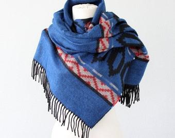 Blanket scarf Winter wrap Cobalt blue Native large shawl Boho chic blanket scarves hippie scarf Tribal Aztec scarves Bohemian