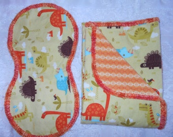 Hem Stitch Baby Boy - Flannel Dinasour Receiving Blanket and Burp Cloth