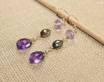 Amethyst, Pyrite and Pink Amethyst Earrings, Wire Wrap, Amethyst Jewelry, Gemstone Earrings