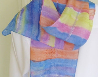 Hand painted rowing scarf in orange purple lime green and pink blue and aqua Canadian 8x54 design