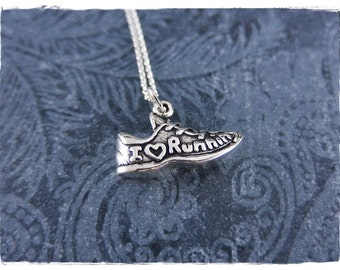 Silver I Love Running Shoe Necklace - Sterling Silver I Love Running Shoe Charm on a Delicate Sterling Silver Cable Chain or Charm Only