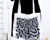 Snakeskin tote bag. screen printed canvas bag. oversized bag. black and white accessory.