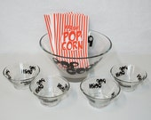 Popcorn Bowls and Circus Bags Vintage Mid Century Glass Tapered Serving Bowls