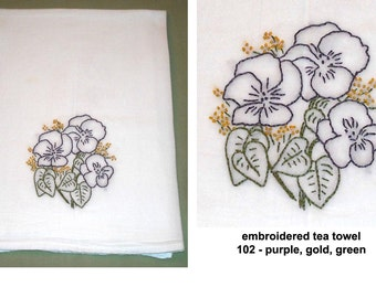 Hand Embroidered Tea Towel Flour Sack Cotton Flowers Plants Nature Vintage Retro Home Decor Kitchen Wedding Gift