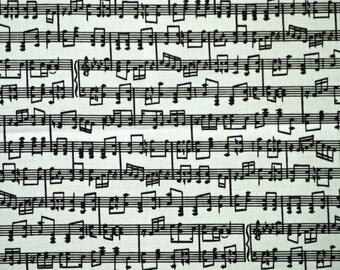 Black White Musical Score Print, Quilting Cotton Fabric, Music Notes, half yard, B9