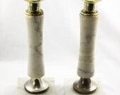 Vintage Pair of marble and metal candle stick holders- antique candlesticks unity candle gold candleholders wedding decor