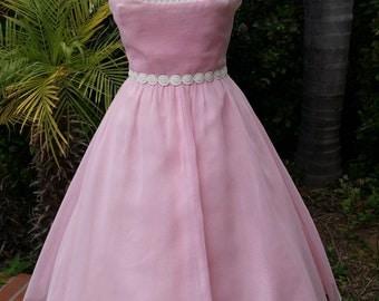 Emma Domb pink party dress shelf bust nipped waist romantic picnic feminine designer wedding reception away dress