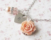 Personalized Peach Bridesmaid Necklace, bridesmaid gift, personalized initial jewelry, peach weddings, Europe