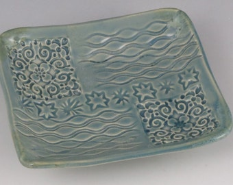 Small blue tray with stars, change/jewelry, small serving tray, short butter dish