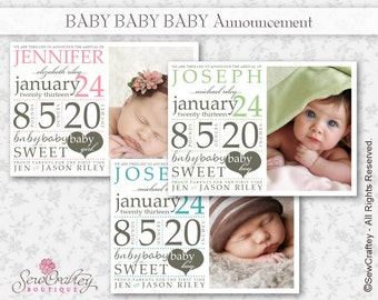 Baby Baby Baby Birth Announcement - 5 x 7 - Digital Download - Printable - Photo - Personalize