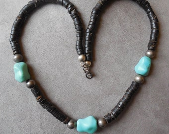 Natural Turquoise, Sterling Silver & Heishi Bead Necklace    NAB22