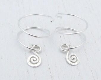 """Argentium Silver Double Piercing Earrings with Charm / 1/2"""" Diameter / Two Hole Earrings / Ear Jacket / Ear Climber / Silver Hoops / 1518"""