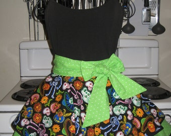 Day of the Dead With Green Polka Dots Ladies Fancy Hostess Half Apron