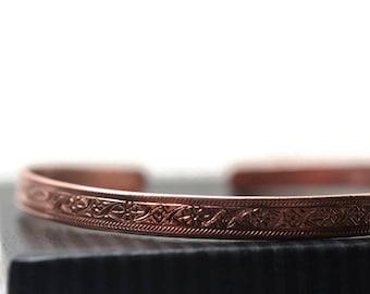 Narrow Copper Bangle with Flower Pattern, Women's Adjustable Copper Cuff, Artisan Made Bohemian Bracelet
