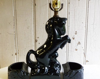 Mid-Century Black Horse Lamp with Planters- Rearing Horse TV Lamp - 1950s Lighting - Atomic Home Decor - Retro Living Room