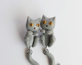 British Shorthair Cats Earrings - Gray Cats - 2 parts