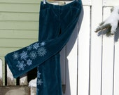 Upcycled pants 'Winterland' embroidered snowflakes, recycled, refahsioned, velveteen trousers, snow, OOAK
