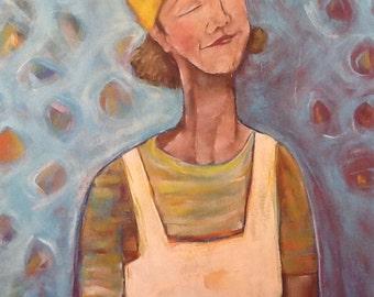 "You Have the Power 30""x24""x1.5"" Original fun motivational portrait painting on canvas"