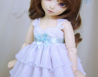 Snow white ruffle dress with ribbon of any color you want for TINY bjd LittleFee Momocolor 29, Saintbloom