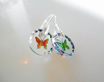 Butterfly Earrings, West Germany, Glass Butterfly Earrings