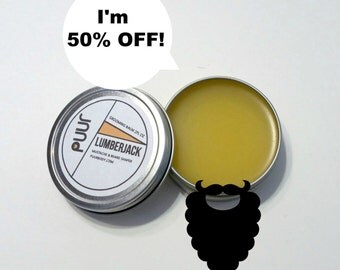 ON SALE 50% OFF  Lumberjack Natural Grooming Beard Shaping Balm Conditioning Balm Light Hold Mustache Wax 2oz Outdoorsy Scent Barbering