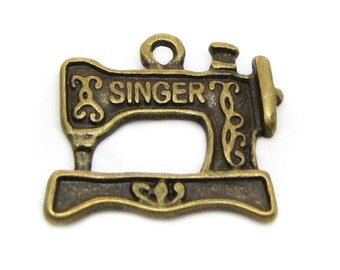 Bronze Charms : 10 Antique Bronze SINGER Sewing Machine Charms | Brass Ox Quilting Pendants -- Lead & Nickel Free Jewelry Findings A13
