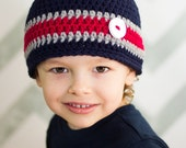 New England Patriots Football Beanie Hat/Navy Blue, Red, Gray Beanie Hat (fits baby to adult)
