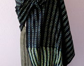 Mexican Traditional Rebozo black confetti ikat  turquoise green fine handwoven cotton -hand knotted fringe  Frida Kahlo boho ethnic