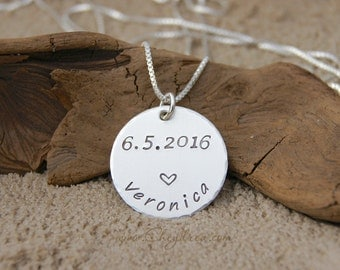 New Mom Necklace, Graduation Gift for Girl, Graduation Gift for Daughter, Personalized Sterling Silver Name and Date Necklace, New Nana Gift