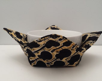 Guitars, Microwave Bowl Cozy, Bowl Holder, Potholder, Music, Bowl Cozy Hot or Cold, All Cotton