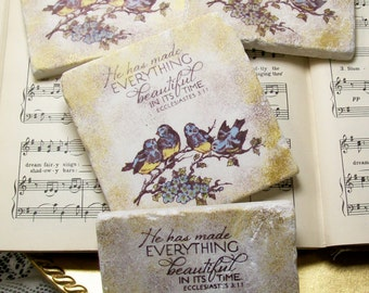Scripture Coasters Ecclesiastes 3:11 Religious Art Coaster Set of 4, Housewarming Gift, Birds on a Branch, He Has Made Everything Beautiful