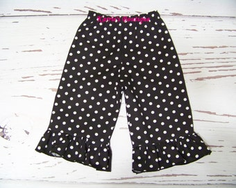 Boutique Ruffle Pants / SHORTS / Black & White Polka Dot / Minnie Mouse / Disney / Birthday/ Newborn/ Baby/ Girl/ Toddler/ Boutique Clothing