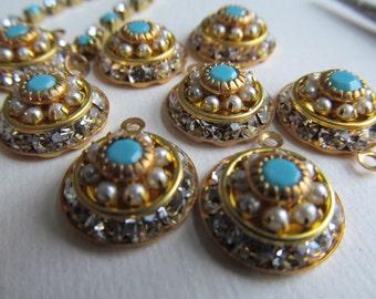 Swarovski Crystal, Pearl, Turquoise Three Layer  Crystal Drop