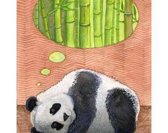 "Panda Art Print of Original Watercolor Painting - Panda Bear Wall Art - Panda Nursery Decor - Nursery Art Print 8 1/2""×11"""
