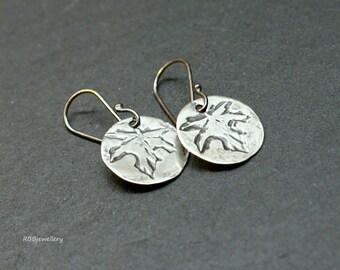 Oxidized Sterling Silver Discs Dangle Earrings