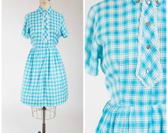 Vintage 1950s Dress • Let Live • Turquoise Blue Plaid Nylon Crepe 50s Shirtwaist Dress Size Medium
