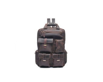 Large dark brown leather backpack with many pockets / leather laptop backpack / distressed leather backpack