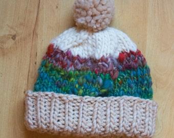 Hand Knit Striped Beanie
