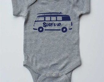 Baby One-piece-SURF'S UP- Beach Van-Baby Boy Outfit-Gender Neutral bodysuit-Baby Shower gift, Baby Gift,new parent gift,creeper