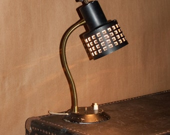 Industrial Black Task Lamp  /  All Metal  /  Die Cut Shade