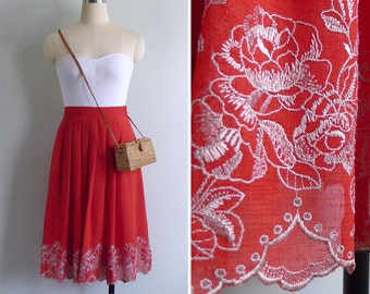 Vintage 80's Red Floral Rose Eyelet Embroidered Scallop Hem Skirt XXS or XS