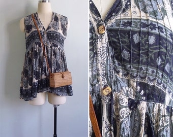 Vintage Indian Cotton Paisley Floral Pintuck Swing Tank Top XS or S
