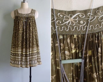 Vintage 80's Indian Cotton Gauze Olive Embroidered Floral Tent Mini Dress XS S M L