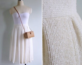 Vintage 80's 'Cloud Nine' Cream Pleated High Waist Skirt XXS