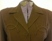 RESERVED for Kathryn Vintage 1940's Fall Cocoa Brown Fitted Suit Jacket WESTERN Arrow Details